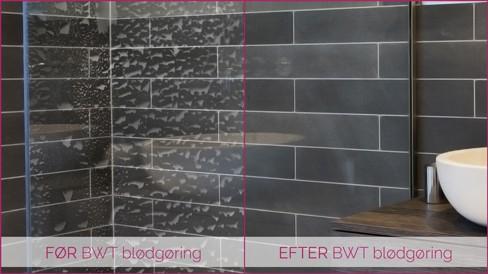 før og efter billede af blødgøringsanlæg på badeværelse